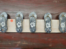 Balinese Wooden Coat Jewellery Hanger Blue Sandals Thong Flowers Rustic Finish