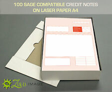 100 SAGE COMPATIBLE CREDIT NOTES ON LASER PAPER A4 210 X 297mm