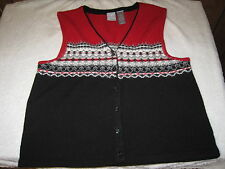 A BLACK & RED & GRAY & WHITE SWEATHER VEST BY EMMA JAMES SPORTS