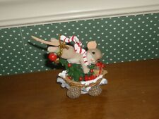 Charming Tails-3.5 Mouse In Mushroom Caboose -Hold On Tight,The Holidays Go Fast