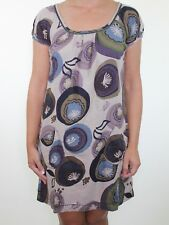 WHITE STUFF brown retro 70's print smock tea dress size 8 euro 36