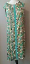 Bobbie Bee Womens dress 22 3x mod knit modest sleeveless shift blue green plus