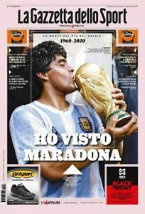 DIEGO ARMANDO MARADONA Italian Sport Newspaper GAZZETTA DELLO SPORT 26-11-2020