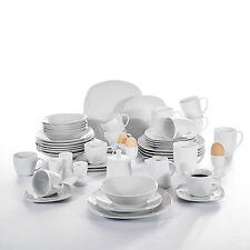 Pack of 50Pcs White Stone Ceramic Porcelain Complete Dinner ware Service Set