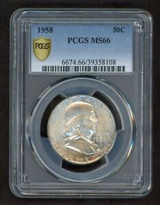 1958 Franklin 50C Half Dollar Silver PCGS MS66