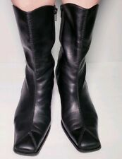 Paul Green Women's Black Leather Heels Ankle Square Toe Boots! Size 9
