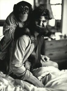 1990s Vintage BRUCE WEBER Handsome Young Man & Chimpanzee in Bed Photo Art 11X14