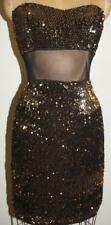NEW Black Gold Sequins Mini Dress Strapless Size XSmall Prom Party NWOT