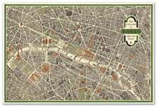 Aerial View Pictorial Street Tourist Map of Vintage Old PARIS France circa 1959