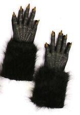 Black Werewolf Gloves Wolf Halloween Adult Costume Accessory Evil Faux Fur Latex