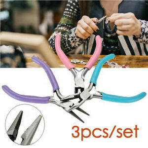 3pcs Jewellery Making Mini Pliers Beading Tooth Needle Nose Flat Craft DIY Tools