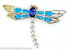 18ct chapado en oro plata de ley 925 , Tanzanita & Azul Ópalo de fuego