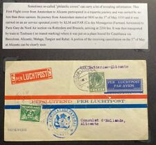 1930 Rotterdam Netherlands Airmail First Flight  Cover FFC To Alicante Spain