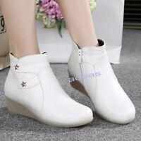 Winter Women's Nurse Leather Wedge Work Boots Warm Hospital Nursing Shoes Boots