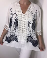 NEW Lace Tunic White & Navy Embroidery Cool Long Oversized One Size Fits 12-18