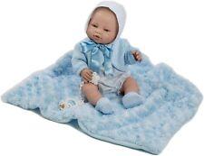 Berbesa -Muñeco bebe recién nacido vestido mantita azul 42 cm vinilo Caja (5114)