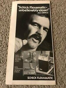 Vintage 1973 SCHICK FLEXAMATIC DICK BUTKUS Poster Print Ad 1970s CHICAGO BEARS