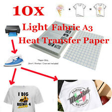 New T-Shirt Inkjet Iron-On Heat Transfer Paper, For Light Fabric, A3-10 Sheet