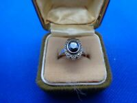 ANTIQUE VINTAGE STERLING SILVER HAEMATITE & MARCASITE RING