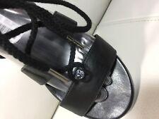 MICHAEL Michael Kors Women's MK Black Leather  Flat Sandal Size 7.5
