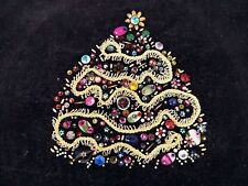 "Beaded Christmas Tree On Black Corduroy Finished Unframed 21"" x 18"" Gold Sequin"
