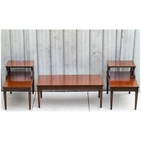 Vintage Mid Century MERSMAN 7640 2-Tier Mahogany Wood Step End & Coffee Tables