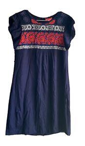 Woman's MONSOON Navy Blue Tunic Dress Size Uk 8 Red White Embroidery Beaded Boho