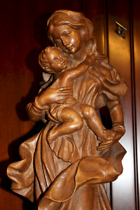 """20"""" ANTIQUE HAND CARVED WOOD OUR LADY VIRGIN MARY MADONNA + JESUS STATUE FIGURE"""