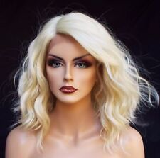 Blonde Lace Front Wig Heat Resistant Synthetic Short Platinum Wavy Hair