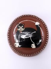 Earthly Goods Black Cat Art Pottery Trinket Plate Painted 5� Diameter F1