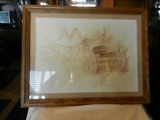 VINTAGE FRAMED PENCIL DRAWING OF A WESTERN TOWN & CARRIAGE by ROBERT ANDREWS