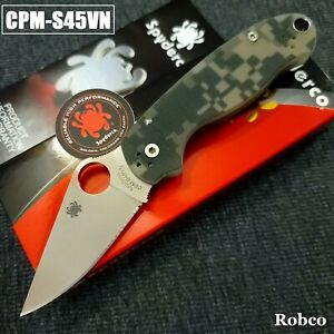 Spyderco Para 3 CPM S45VN Stonewash Plain Edge Camo G10 Paramilitary 3 C223GPCMO