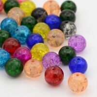 50pcs 12mm Mixed Crackle Round Glass Beads DIY Jewelry Making