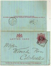1894 London Ec Square Circle On Qv 1d Lettercard Code A3->Colchester