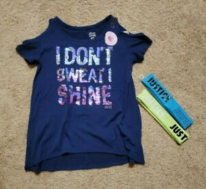 Justice Active Girl's Don't Sweat Flip Sequin Cold Shoulder Top 6/7 NWT Headband