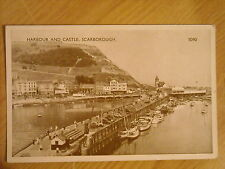 OLD BLACK & WHITE POSTCARD OF THE HARBOUR & CASTLE, SCARBOROUGH