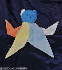 Peluche Doudou Ours Bleu Plat Etoile MUSTELA MUSTI Bleu Blanc Jaune Orange TTBE