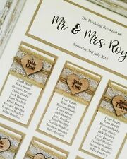 A3 Rustic engraved wooden heart, lace hessian, wedding table plan / seating plan