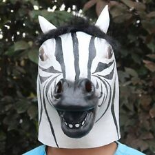 Funny Zebra Latex Head Mask Cosplay Theater Props Costume Animal Halloween Party