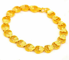 24k Yellow Gold Link Linked Chain Hearts Womens Bracelet Bangle Giftpkg D558c