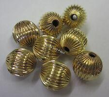 8 x 14mm Metal Ridge Ball Beads Gold Tone For Beading & Jewellery Making JF653