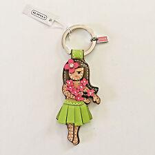 NWT Coach Hula Girl Hawaii Leather Key ring Keychain FOB Chain Purse Charm Rare
