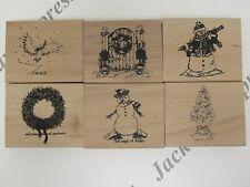 6 en bois posées en caoutchouc de noël thème timbres arbre couronne bonhomme de neige (Pk1) AM307