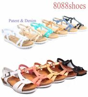 Women's Cute Summer White Sole T-Strap Low Wedge Flat Sandal Shoes Size 5 - 11