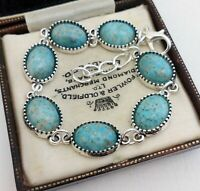 Vintage - CZECH Blue Turquoise Peking Marble Glass Small Oval Cabochon Bracelet