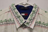 Vintage TOMMY JEANS HILFIGER Mens Hawaiian Shirt Trees White Green XL