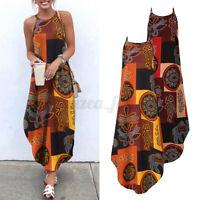 Women Strappy Printed Beach Holiday Dresses Summer Long Sundress Sexy Slip Dress