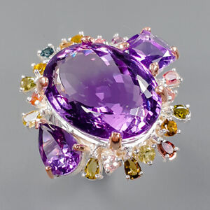 26x19 mm. 50 ct+ AAA GEM Amethyst Ring Silver 925 Sterling  Size 8 /R162083