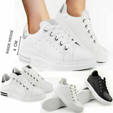 Womens Ladies Wedge Trainers Sneakers Hi Top Shoes Skaters Black White Size New