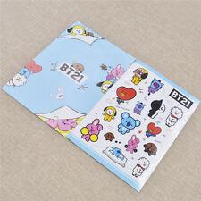 1set Cartoon BTS BT21 Transparent PVC Stickers for Luggage Phone Album Kpop Fans